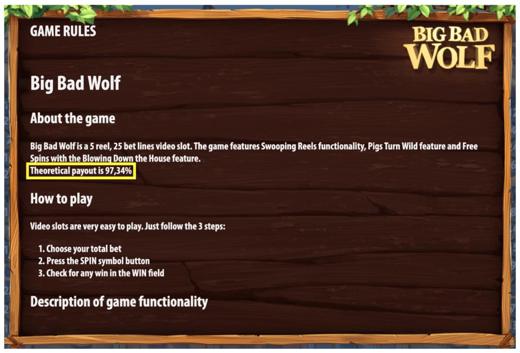 ビッグバッドウルフ(Big Bad Wolf)のペイアウト率