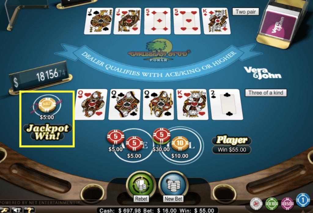 カリビアンスタッドポーカーのジャックポット
