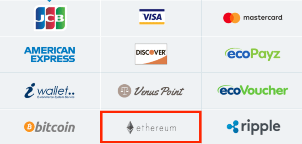 イーサリアム(ETH)で入金出金できるオンラインカジノ